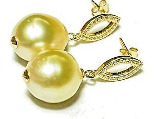 Stunning 12.5 x 14 mm Natural Gold Philippines South Sea Oval Pearl Earrings
