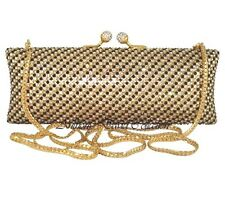 Anthony David Clutch Evening Bag with Black, Gold & Clear Swarovski Crystals