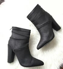Michael Antonio Vincente Crackled PU Leather Black Booties Boots NWB Size 10
