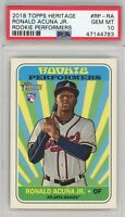 2018 Topps Heritage Rookie Performers #RP-RA RONALD ACUNA Rookie PSA GEM MT 10