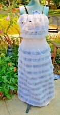 NWT BETSY JOHNSON RUFFLE CREAM BLACK STRIPE GOWN DRESS SIZE SMALL BUST 30