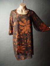 Sale Moody Dark Floral Print Fall Autumn Work Office Party Chiffon Shift Dress S