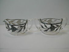 VINTAGE GLASS STERLING SILVER OVERLAY CREAMER & SUGAR SET