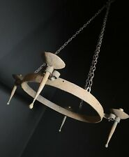 Large Rustic Antique 4 Arm Black Iron Chandelier / Ceiling Light Hand Forged
