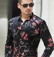 Mens Slim Formal Long Sleeve Dress Shirts Floral Printed Party Tops Lapel 4XL U8
