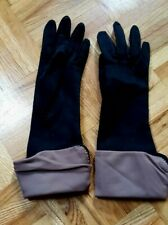 Vintage black roll down brown satiny opera slim long gloves S