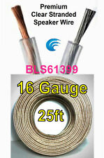 25' ft 16 Gauge Clear Stranded Speaker Wire Home Car Stereo Audio Cable Wiring