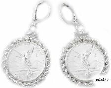 1/10 oz Mexican Libertad Sterling Silver Rope Coin Bezel Leverback Coin Earrings