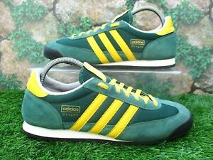 VINTAGE ADIDAS ORIGINALS DRAGON TRAINERS SIZE 9 GREEN SUEDE / YELLOW STRIPES