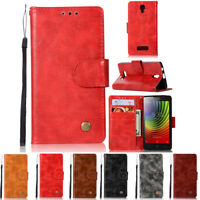 Luxury Flip Wallet Stand Card Slot Wax PU Leather Cover Case For Lenovo A2010