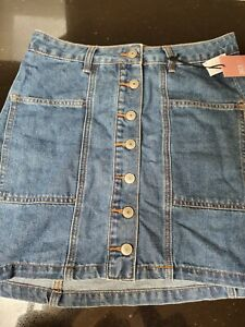 Supre Indigo Blue Button Through Denim Mini Skirt Size 10 BNWT