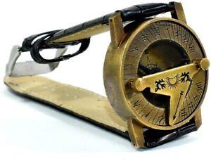 Solid Style Marine Brass Sundial Compass Wrist Watch Type Working