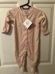 Hanna Andersson Footed Little Sleeper 60 3-6 Mos Pale Pink Stars Moons PJs NWT