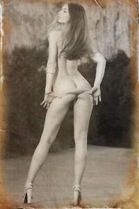 Risqe Pinup Girl Sexy vintage Antique Retro Rare on the shore Woman Photo 4x6 G