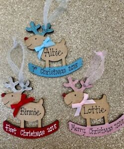Personalised 2021 1st Christmas Rocking Reindeer Tree Decoration First Baby Gift
