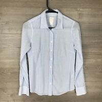 J.Crew Women's Size 0 The Perfect Shirt Button Down Top Blue White Striped