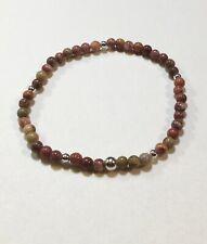 Handmade Stretch Gemstone Stacking Bracelet Rainbow Agate Tibet Silver Sm-Med