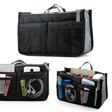 Travel Dual Bag In Bag Makeup Storage Organizer Pouch Handbag Insert Purse Black