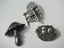 Vintage 3 Collection Lot Pewter Brooches Mushroom Chair Nest Egg Motif Theme