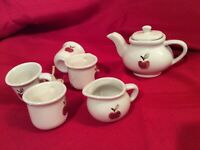 Mini Porcelain Child's Doll Tea Set with Apple on front, Teapot Creamer 4 cups