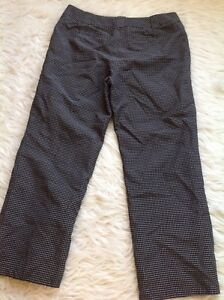 Ann Taylor Margo capris 8 Silk Blend cropped pants Black Checked flat front