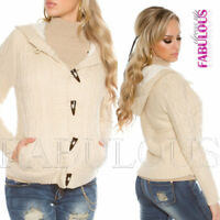 Womens Warm Cardigan Knit Jacket Ladies Knitwear Thick Hoodie Size 8 10 12 S M L