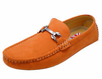 MENS FLAT SLIP-ON DRIVING SMART CASUAL ORANGE LOAFERS DECK SHOES MOCASSINS 6-11