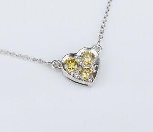 "Platinum Fancy Yellow Diamond 1/2ct Heart Fixed Pendant Necklace 18"" Love NG957B"