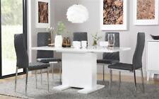 Osaka & Renzo Extending High Gloss Dining Room Table and 4 6 Chairs Set - Grey