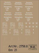 2756.6 Beschriftung für Güterwagen Om21, für Wagen Königsberg 5186, 5485, 5666