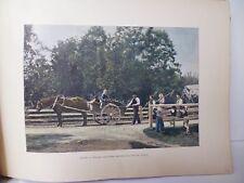 SUEDE/Gravure 19°in folio couleur/ PAYSANS  DALECARLIENS REVENANT DE LA MOISSON