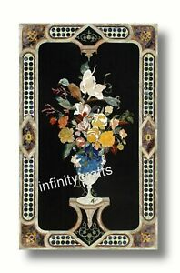 """30 x 60"""" Marble Coffee Table Top Floral Pattern Inlaid Royal Look Center Table"""