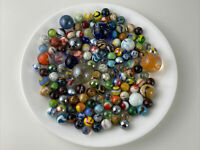 120 Vintage GLASS MARBLES Various STYLES + SIZES + SWIRLED COLORS + SPECKLED