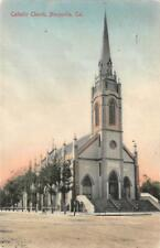Catholic Church, Marysville, CA 1907 Hand-Colored Vintage Postcard