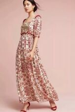 Anthropologie Sidella Maxi Dress Sz 6 Small S Floral Red Bhanuni By Jyoti