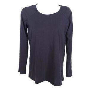 Lululemon Long Sleeve Tee Top Black Women's 2 Pima Cotton Lycra Round Neck