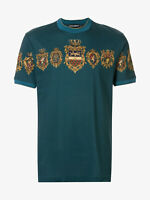 Dolce & Gabbana Mens Graphic Print Blue T Shirt D&G Graphic Print Crest
