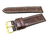 Vintage Rustika Leder Uhrenarmband 22mm handgenäht, braun Made in Germany
