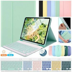 """For iPad 10.2"""" Air 4th 10.9"""" Pro 11"""" Leather Bluetooth Keyboard With Mouse Case"""