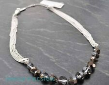 Kenneth Cole Necklace Hematite Glass Faceted Beads Multi Chain New York Beaded