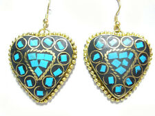 Gemstone Inlay Brass Pendant Earrings Pair Delicate Nepal Heart Shaped Turquoise