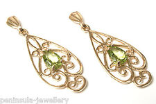 9ct Gold Peridot Ornate Drop Earrings Gift Boxed Made in UK