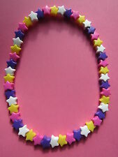 Kitsch Candy Colours Plastic Star Bead Elastic Necklace Retro Summer Brand New