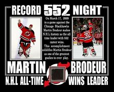 MARTIN BRODEUR DEVILS 552 CAREER WINS 8x10 PHOTO W/ GAME USED STICK W/ COA