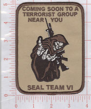 SEAL TEAM VI DEATH TO THE TALIBAN DESERT REAPER SKULL MILITARY PATCH HOOK BACK