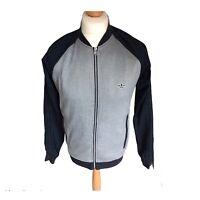 ADIDAS Jacket Small Mens Retro Grey Navy 3 Stripes Streetwear Indie