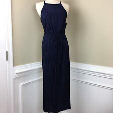 New York and Company Womens Size Small Navy Blue Sleeveless Pleated Halter Dress