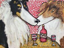 Rough Collie at the Bistro 11 x 14 Dog Art Giclee Print Signed Artist KSams Wine