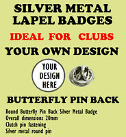 8 X Possède Design Papillons Broche Arrière Métal Argent Revers Badges/ Clubs /