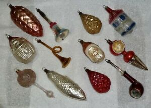12 ANTIQUE X-MAS TREE GERMAN ORNAMENTS: PATRIOTIC BELL PIPE HORN SANTA FISH